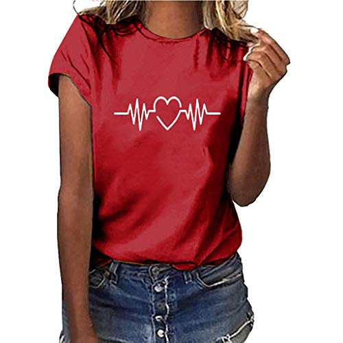 Women ECG Print Plus Size Solid Color Shirt Short Sleeve T-Shirt Blouse Tops Red