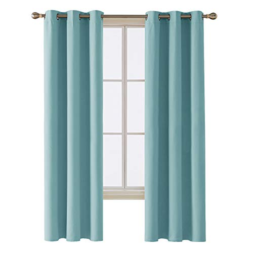 Deconovo Room Darkening Thermal Insulated Blackout Grommet Window Curtain Panel for Bedroom, Teal Blue,42x84-inch,1 Panel