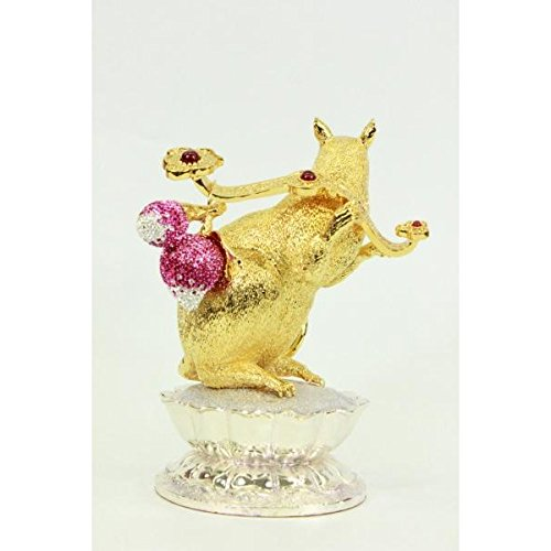 EUROPEAN BRONZE Admirable 24K Gold Plate Ruby Stone Rat Chinese Zodiac Sign Clever Witty Sculpture Statue (Gold Statue Plate)