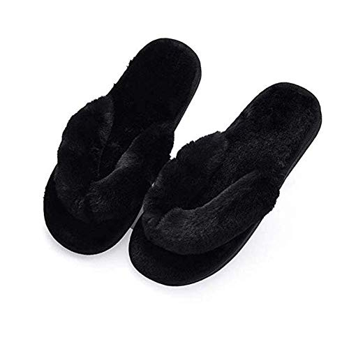 Humiwa Womens Faux Fur Slippers Warm Fussy Flip Flop House Slippers Open Toe Home Slippers for Girls Men
