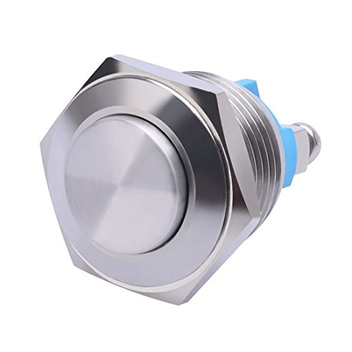 WerFamily 16mm Waterproof Momentary Type Stainless Steel Metal Push Button Switch High Flush 250V 3A 1NO SPST