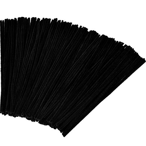 Tatuo 300 Pieces Valentines Day Chenille Stems 12 Inches by 6 mm Pipe Cleaners DIY Art Craft Supplies Decorations (Black)