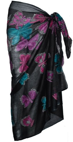 Black Sarong with Butterfly Design 100cmx 180cm