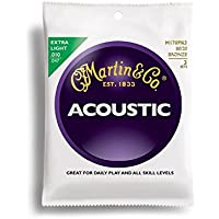 Martin M170 80/20 Acoustic Guitar Strings, Extra Light 3...