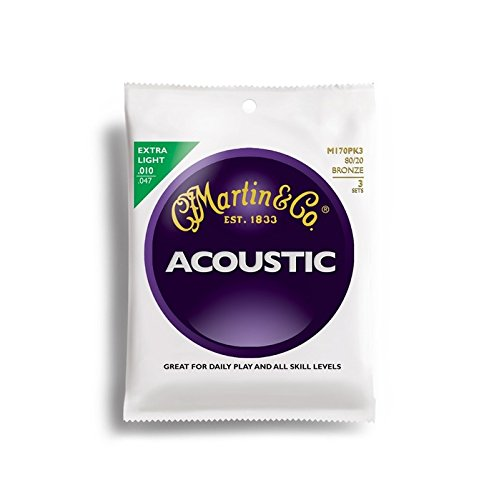 (Martin M170 80/20 Acoustic Guitar Strings, Extra Light 3 Pack)