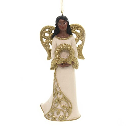 (Holiday Ornaments Black Angel with Gold Wings African American E0205 Wreath )