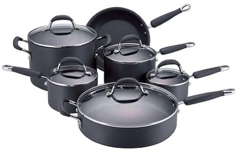 KitchenAid Gourmet Essentials acabado anodizado antiadherente 11 piezas Batería de cocina: Amazon.es: Hogar