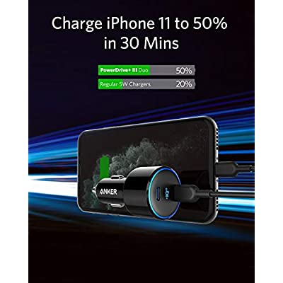 USB C Car Charger, Anker 48W 2-Port PIQ 3.0 Fast Charger Adapter, PowerDrive+ III Duo with Power Delivery for iPhone 11/11 Pro/11 Pro Max/XR/XS/X, Galaxy S10/S9, Note 9, Pixel 3/2, iPad Pro and More: Electronics