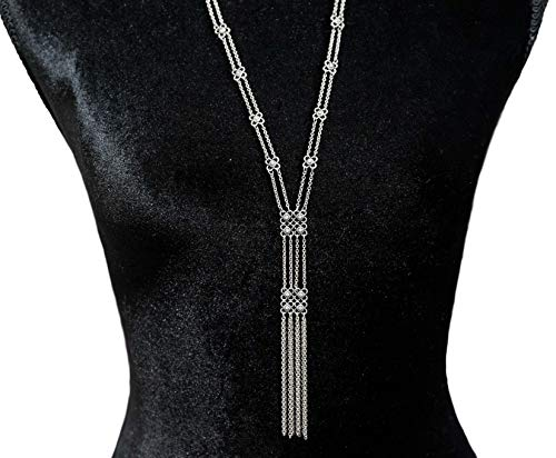 - Choice by Choi Long Silver Lariat Necklace for Women Glass Stones Chain Pendant Knot Sweater Y-Necklace for Women