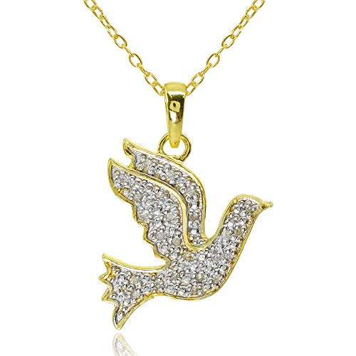 Yellow Gold Flashed Sterling Silver Polished Flying Dove Bird Peace Diamond Accent Pendant Necklace, JK-I3 ()