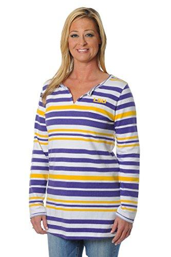 UG Apparel NCAA LSU Tigers Women's Striped Tunic Fleece Top, Medium, Purple/Yellow/White