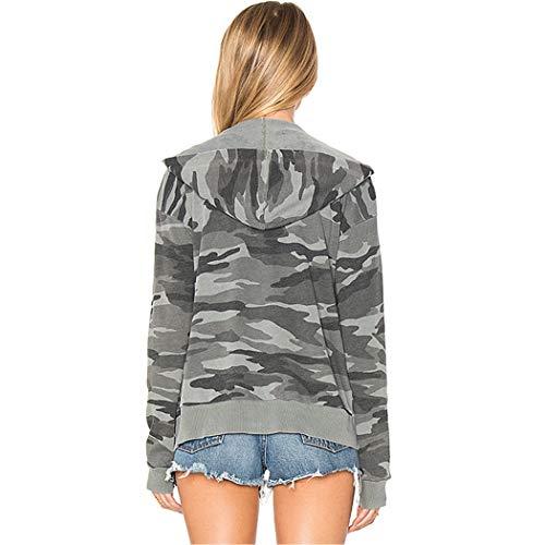 Hooded Camuffare Strada Grigio Women Short Primavera L'ananas Outwear Jackets Donne Giacche Corti Cappuccio Autunno Cerniera Cappotti Coats Stile q4x7w