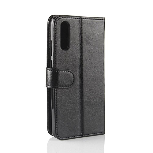 Huawei P20 Funda DISLAND [Lisa] [Ranura de la tarjeta] Cartera porta bolsa cuero Stand caso protector para Huawei P20,Rojo Negro