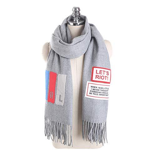 GAOQQ Imitation Cashmere Scarf, Personalized Fashion Solid Color English Letter Print Tassel ()