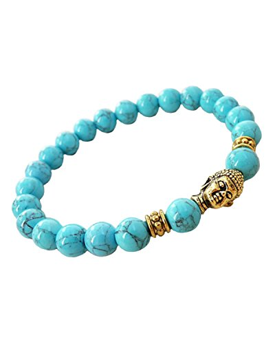 Young & Forever Men's Valentine D'Vine Turquoise Beads Reiki Yoga Meditation Buddha Bracelet by Young & Forever