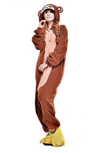 Unisex Halloween Costume Party Pajama Animal Cosplay Sleep Suit (S, Coffee (Monkey Onesie For Adults)