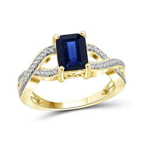Jewelexcess 2 Carat T.G.W. Sapphire and White Diamond Accent 14kt Gold Over Silver Infinity Ring ()