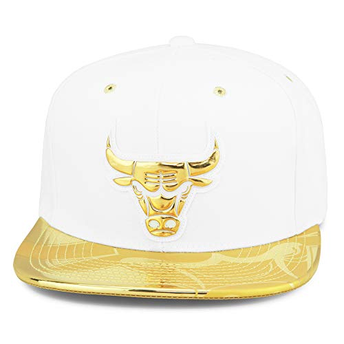 Mitchell & Ness Chicago Bulls Snapback Hat Cap Mens White/Gold Foil (Patent Leather)