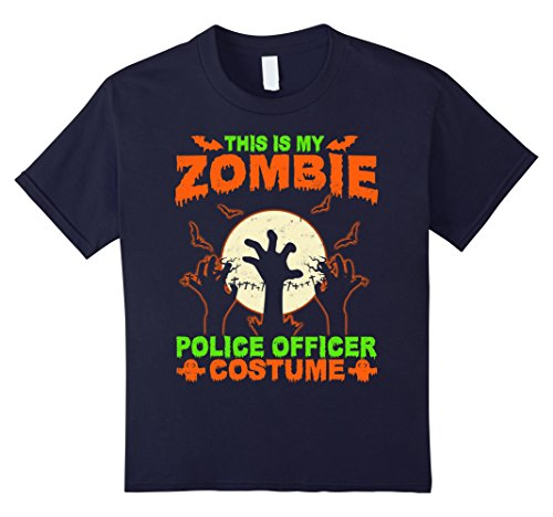 Zombie Military Costume (Kids This Is My Zombie Police officer Costume T-Shirt 12 Navy)