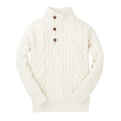 Hope & Henry Boys White Cable Mock Neck Sweater with Button Placket