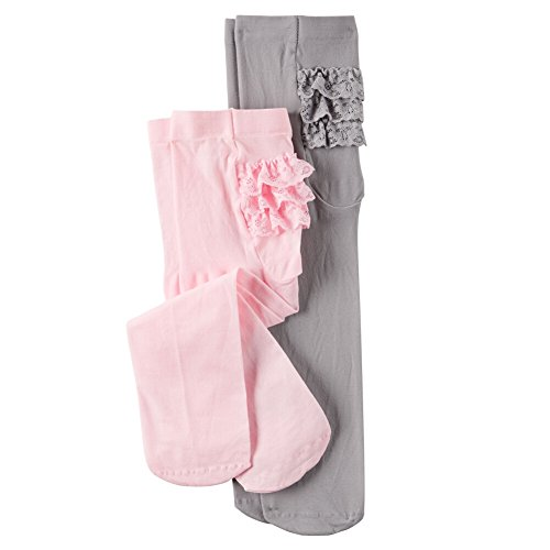 Carter's Baby-Girls Newborn Pink Grey Solid Microfiber Tights, Multi, 0-9/Medium Months (Pack of ()