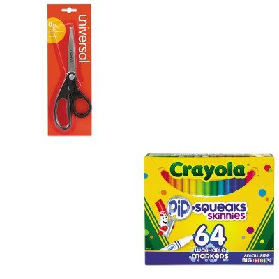 KITCYO588764UNV92009 - Value Kit - Crayola Pip-Squeaks Skinnies Washable Markers (CYO588764) and Universal Economy Scissors (UNV92009) (Skinnies Markers Pipsqueaks)