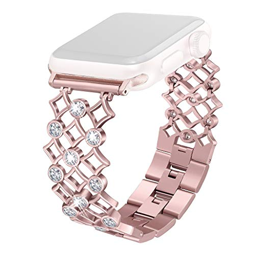 Diamonds Rose Alligator Watch - Freshzone Bling Bands Compatible for Apple Watch Series 1/2/3/4 42mm/44mm, Stainless Steel Hollowed-Out Diamond Gold Ingot Steel Chain Strap (Rose Gold)
