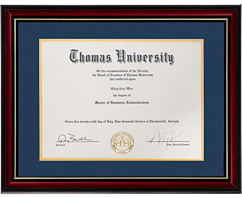 (Flagship Diploma Frame Real Wood & Glass Golden Rim Sized 8.5x11 Inch with Mat and 11x14 Inch Without Mat for Documents Certificates (Double Mat, Navy Blue Mat with Golden)
