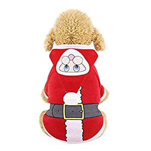 Sunward Puppy Kitty Clothing,Pet Cat Dog Christmas Santa Winter Warm Clothing Dress Thicken Clothes