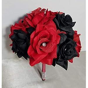 Red Black Rose Hydrangea Bridal Wedding Bouquet & Boutonniere 116