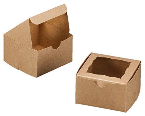 Bakery Box With Window 4x4x2.5 inch - 50 Pack - Eco-Friendly Paperboard Take Out Gift Boxes for Pastries, Cookies, Cupcakes, and more (50 Pack, Brown)
