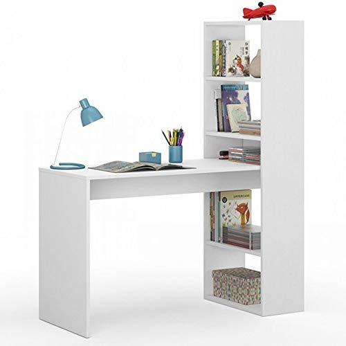 Habitdesign 008314A - Mesa de ordenador PC o escritorio con estanteria reversible en Blanco Artik, 144x120x52 cm
