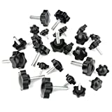 plastic bolt knob - 26 Piece Plastic Hex Shaped Hand Knob Tightening Screw Knob Quick Removal Clamping Screw Knob Star Knobs(M4x12mm / M6x20mm / M8x30)