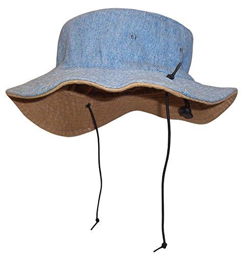(N'Ice Caps Kids Reversible Adjustable Cotton Twill Aussie Sun Protection Hat (Tan/Light Blue, 60cm (23.6
