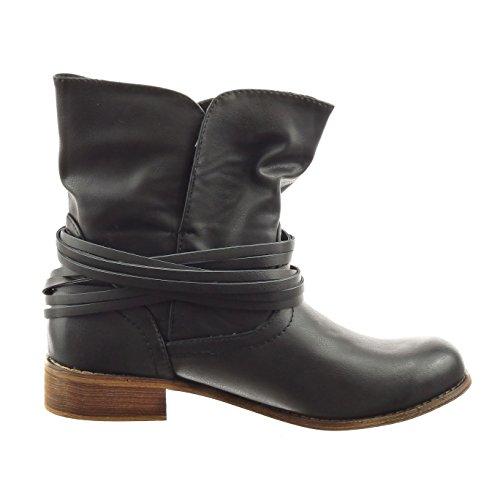 Sopily - damen Mode Schuhe Stiefeletten Reitstiefel - Kavalier String Tanga Schleife - Taupe