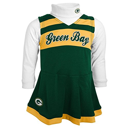 buy online 835a9 fc82d NFL Green Bay Packers Girls Cheer Jumper Dress with Turtleneck Set, 2T,  Hunter