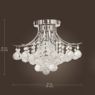 crystal chandelier with 3 lights mini style flush mount ceiling light