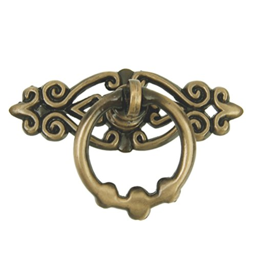 (WINOMO 10pcs Cabinet Drawer Ring Pull Handle Cupboard Door Knob (Antique Brass))
