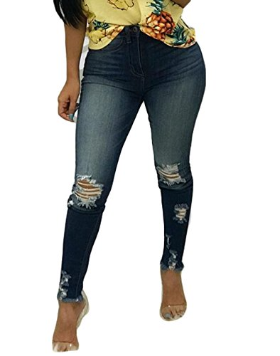 USGreatgorgeous Women Casual High Waist Destroyed Ripped Distressed Skinny Denim Jeans With Holes (XL, 10725) by USGreatgorgeous