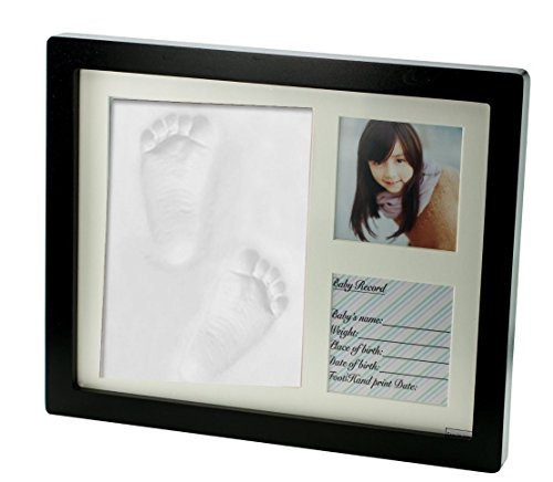 Premium Clay Baby Footprint & Handprint Picture Frame Kit- Perfect Gift for baby shower gift, Expected Parents and (Sign Photos Name Shower)