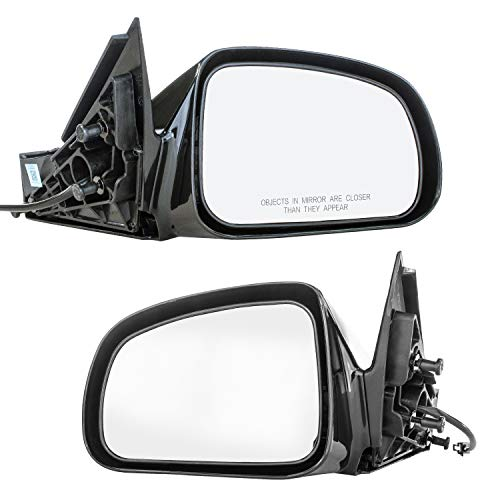 Driver and Passenger Side Mirrors for Pontiac Grand Prix (2004 2005 2006 2007 2008) Black Non-Heated Non-Folding OE Replacement Outside Rear View Door Mirrors (Replacement Folding Oe Direct)