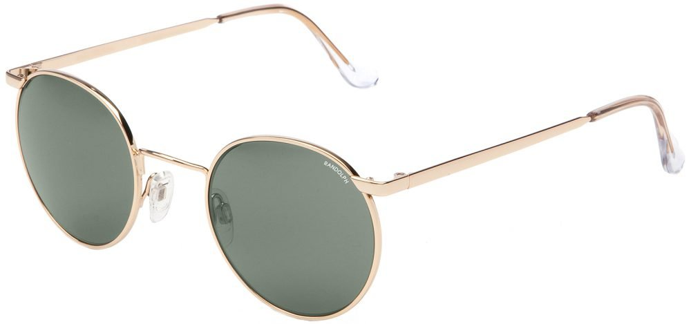Randolph P3 P3P1414-PC Round Sunglasses, 23K Gold Plated, 49mm, AGX PC