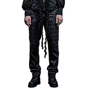 Gothic Victorian Black Silk Pants Men Steampunk Fashion High Waist Halloween Trousers