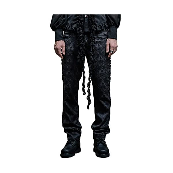 Gothic Victorian Black Silk Pants Men Steampunk Fashion High Waist Halloween Trousers 3
