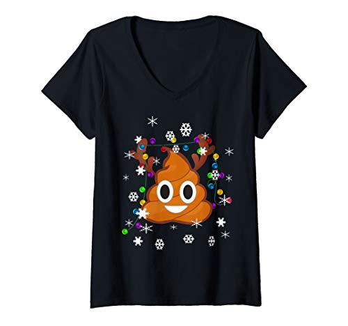 Womens Funny Merry Christmas Poop Emojis Gift V-Neck T-Shirt (Merry Emoji Christmas)