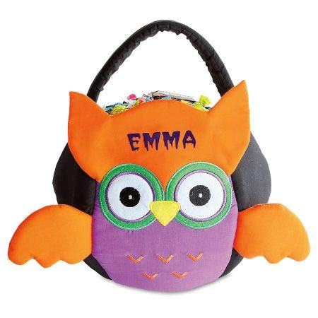 Halloween Treat Baskets Personalized (Lillian Vernon Owl Personalized Halloween Treat Bag - Small Trick or Treat Tote & Candy Basket for Kids, Polyester/Cotton, 9