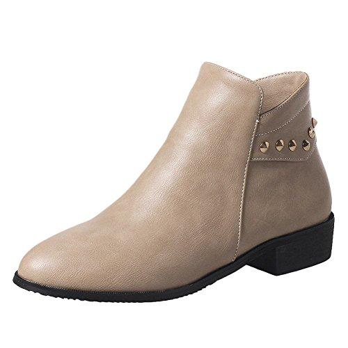 Carolbar Womens Zip Spikes Comfort Casual Neutro Tacco Basso Stivaletti Albicocca