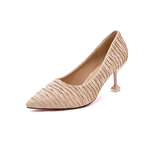 GAOLIM Punta del Alto Talón Zapatos Mujeres Delgadas Y Ligeras con Solo Zapatos, como La Punta De Los Zapatos De Tacón Alto (5-8 Cm) Beige