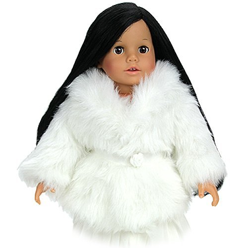 Price comparison product image Dress Doll Coat in Creamy White Fur fits American Girl Dolls Made by Sophia's,  Fashion Forward Off-White Fur Doll Clothes Dress Coat fits 18 Inch Dolls for Special Occasions