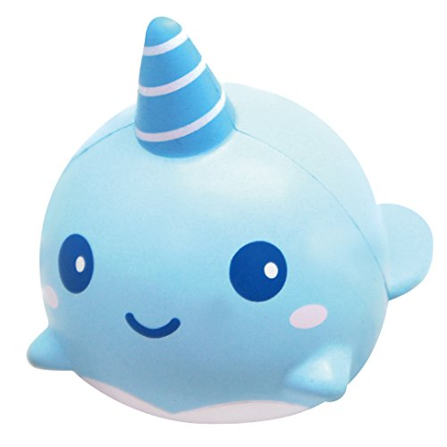 ibloom Slow Rising [Squishy Collection] Mini Billie The Whale Mint [Scented] Animal Squishy Kids Cute Adorable Doll Stress Relief Toy Decorative Props [Light Blue]